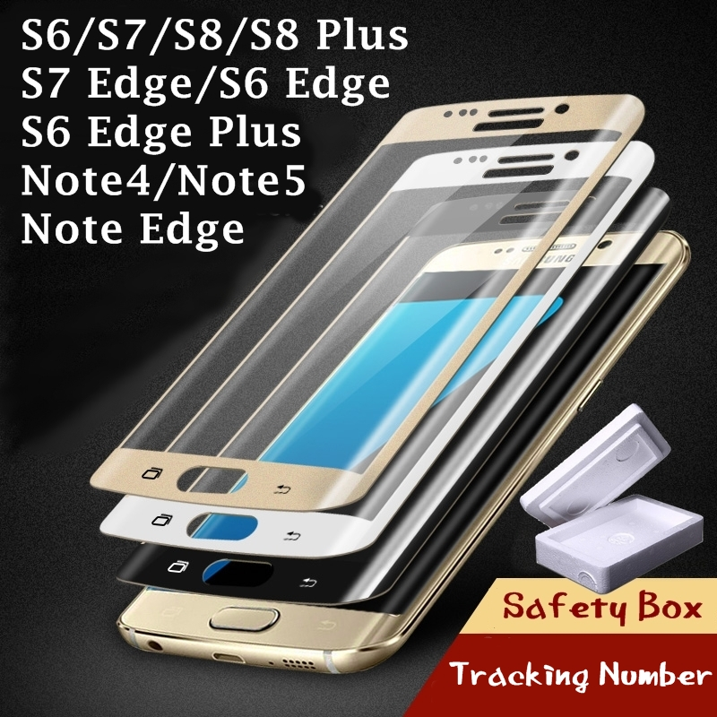 Tempered Glass Full Cover Screen Protector for Samsung Galaxy S6 S7 S8 S7 Edge S8 Plus Note 4 5 Note Edge N9150 Film on Screen