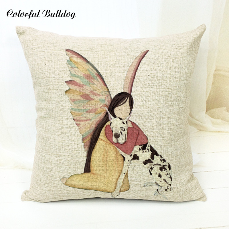 Wings Cartoon Girl Cushion  Cute Dog Animal Bedroom Sofa Decoration Bingo Pure