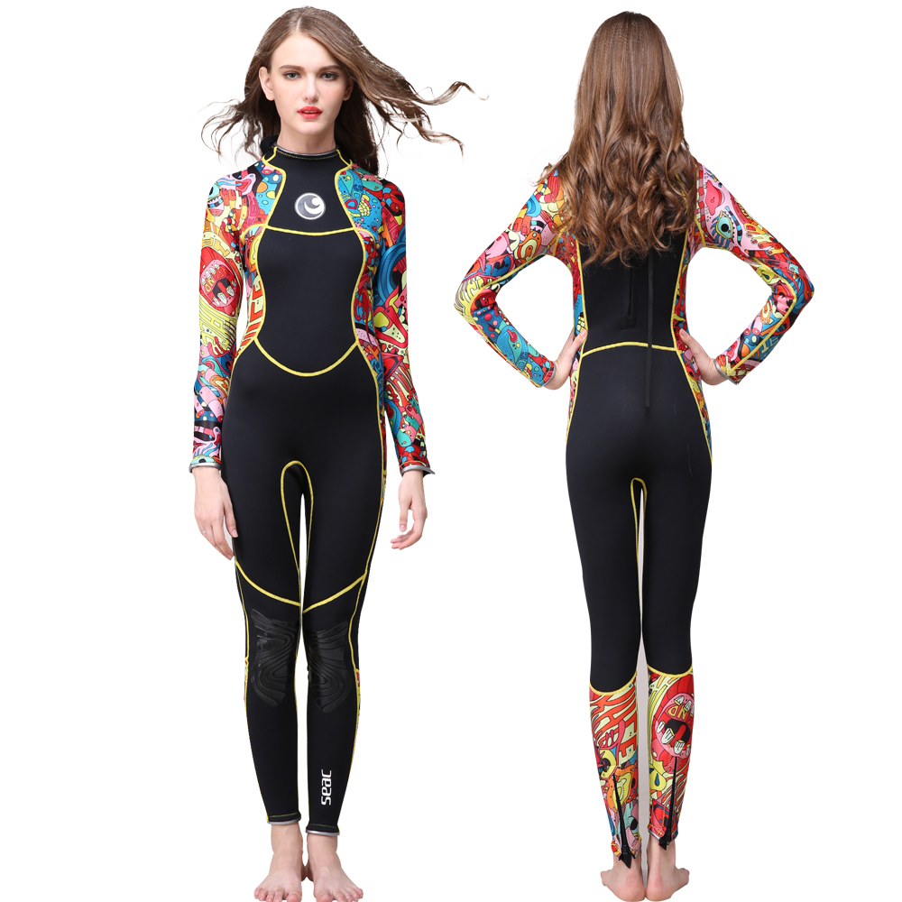 Hisea women wetsuits 3mm one pieces full body swimsuit for girls swimwear cuff and legs with