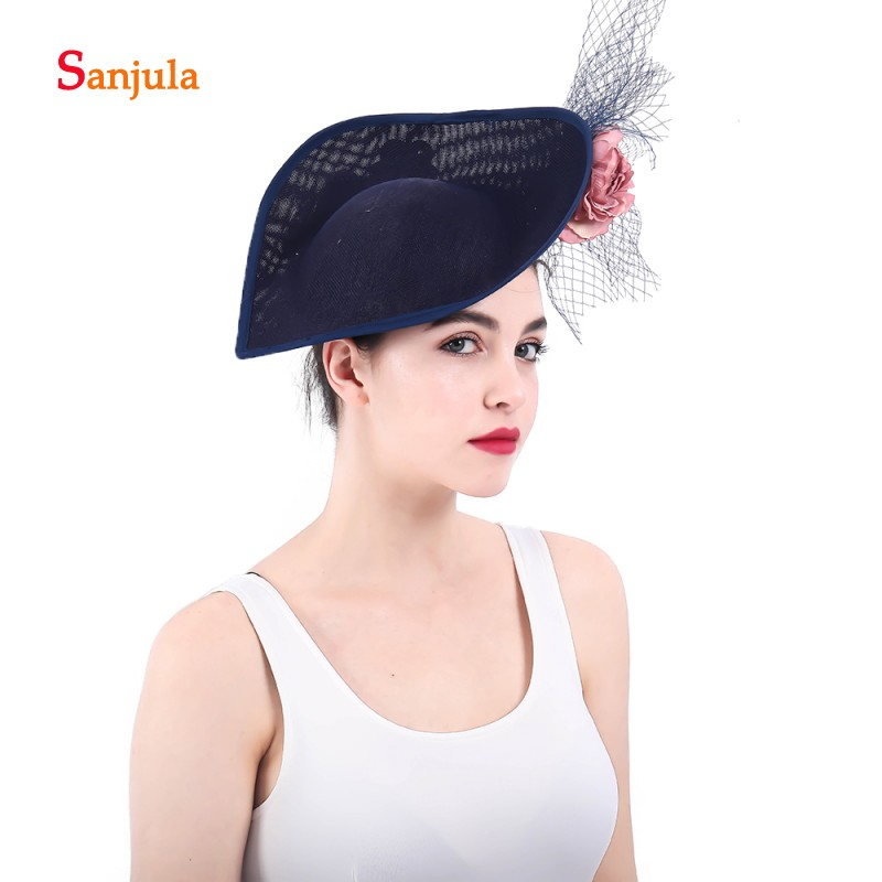 Fascinators Bridal Hats Navy Blue Women's Formal Party Hair Accessories with Flowers Beaded pamelas sombreros bodas H23