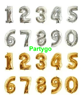 200pcs lots 16inch Foil Gold and Silver Number Balloon Float air balls Wedding party decoration baloon