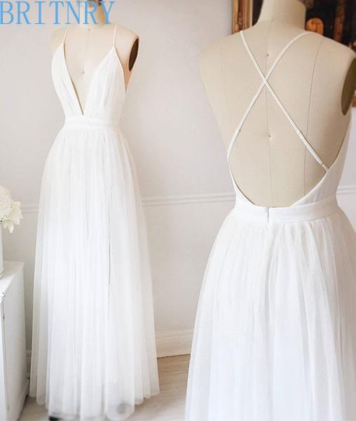 vestidos de novia sencillos de verano cuello en v espalda