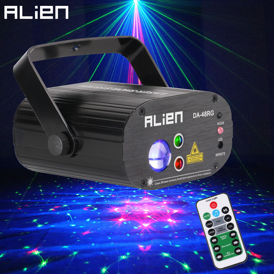ALIEN 48 Patterns Stage Laser Projector DJ Disco Lighting Effect Party Wedding Birthday Holiday Remote 9W