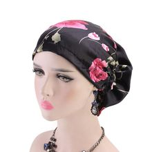 Women Imitation Silk Satin Muslim Casual Turban Hat Vintage Colored Floral Pleated Stretch Hair Loss Chemo Cap Beanie Headwrap