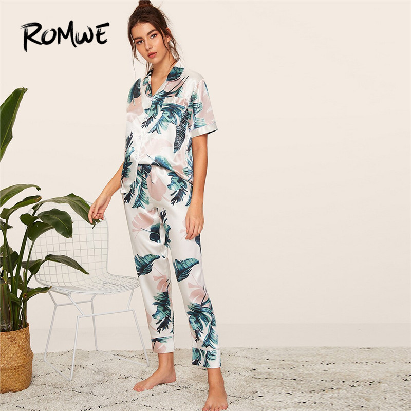 ROMWE Woman Tropical Print Satin Pajama Set Short Sleeve Blouse With Long Pants Sleepwear Sets Two Piece Night Wear Suits