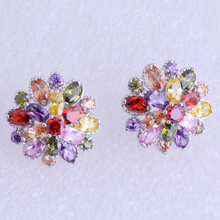 Wedding Jewelry ! Brilliant Colorful Cubic Zirconia Snowflake Silver Stud Plated Earrings for Women Free Gift Bag J0505
