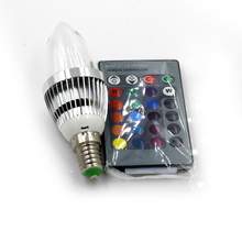 Big Promotion E14 3W RGB LED 16 Color Changing Light Candle Bulb Spotlight Lamp 85-265V with Remote Control