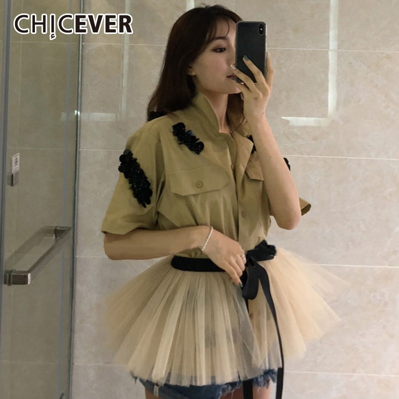 CHICEVER Summer Casual Beading Patchwork Mesh Hem Women Shirt Laple Half Sleeve Lace Up Bow Button
