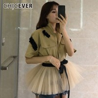CHICEVER Summer Casual Beading Patchwork Mesh Hem Women Shirt Laple Half Sleeve Lace Up Bow Button Pockets Female Top Clothing
