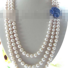 Ddh002520 3 ряда Природный 10-11 мм Белый Жемчуг Ожерелье 28% Скидка