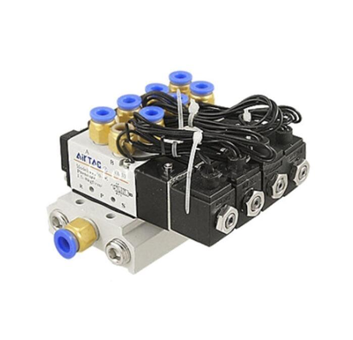 4V110-06 5 Way Triple Solenoid Valve Connected Mufflers Base 6mm 8mm Quick Fittings Set DC 12V 24V AC 110V 220V 1/8 Inch Port