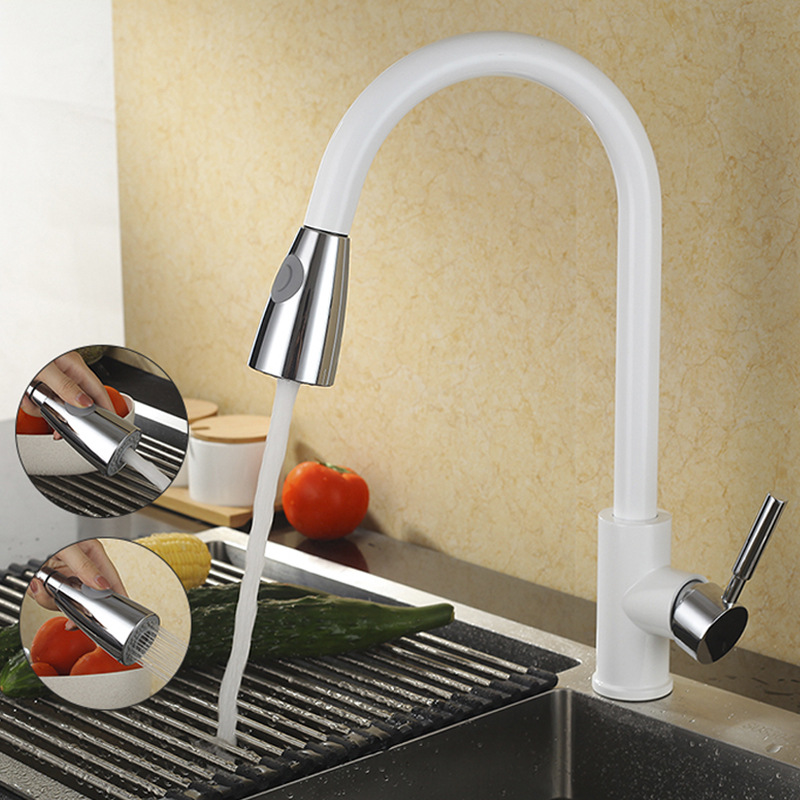 Kitchen Sink Faucets White Chrome Finish Brass Kitchen Faucet Pull Out Spring Spout Mixer Tap Single Handle Hot Cold Swivel TapsKitchen Sink Faucets White Chrome Finish Brass Kitchen Faucet Pull Out Spring Spout Mixer Tap Single Handle Hot Cold Swivel Taps