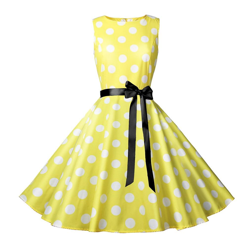 Yellow Dots Print Vintage Dresses Summer Women Sleeveless Fashion Party Dress Casual A-line Sashes Slim Robe Retro Midi Vestidos