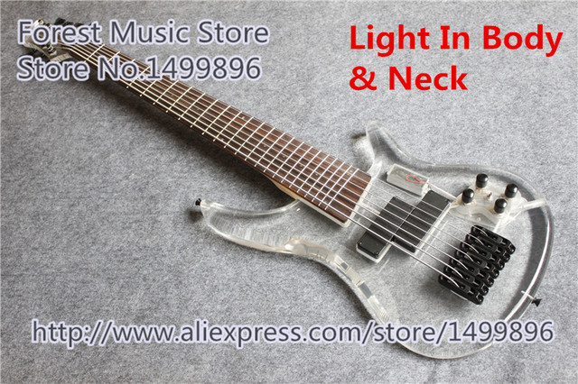 Cheap Hot Selling Acrylic Body 7 String Electric Bass Guitar 24 Frets China Bass With Light In Body & Neck