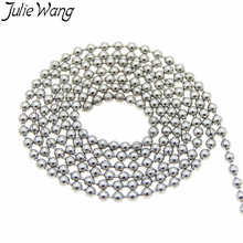 Julie Wang 5m 1.5mm Stainless Steel Beads Chain Necklace Pendant Bracelet Women Men DIY Jewelry Making Handmade Finding(China)