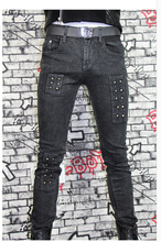 2015 winter grey slim pencil pants personality rivets mens true jeans men famous brand designer jeans skinny jeans 1 jeans