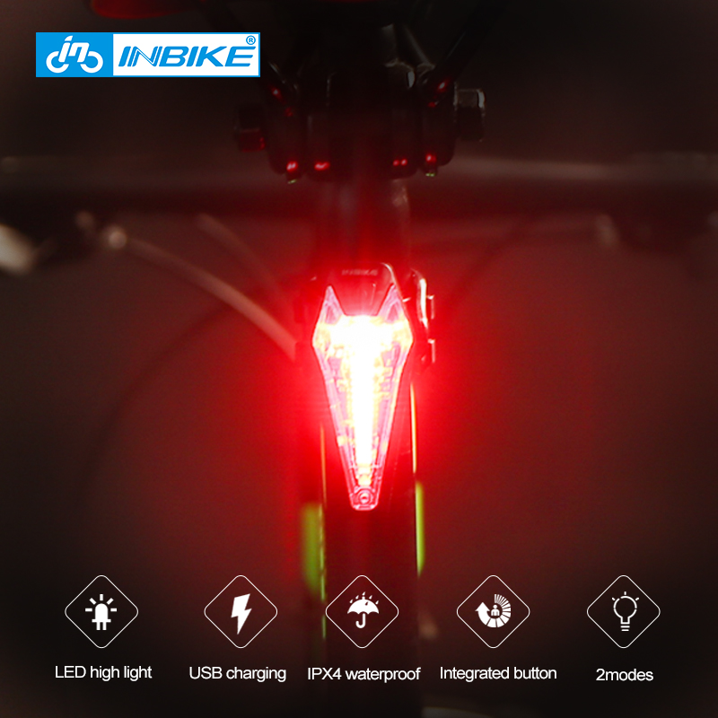 INBIKE Bike Taillights Bicycle Light USB Rechargeable Night Cycling Rain Mountain Bike Accessories Bicycle Lamp tail light TX142 bicycle light headligh glare t rechargeable led 10w mountain bike bicycle riding equipment accessories
