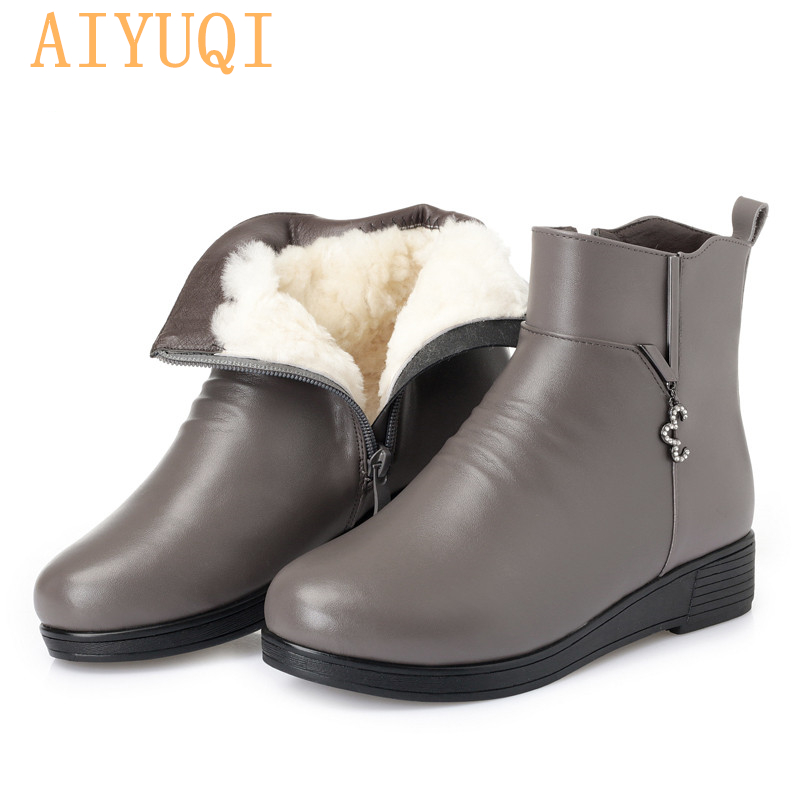 AIYUQI Female snow boots winter 2019 new genuine leather women booties big size 35 43 flat