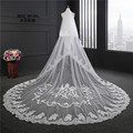 Hot Sell Veil for Bride Real Picture 3.5m Length 3m Width White Ivory Lace Edge Applique Wedding Accessories Bridal Veils