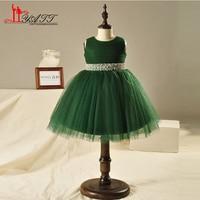 Lovely Green Short Ball Gown Flower Girl Dresses Tank Sleeveless Pleat Tulle Girls Prom Dress Gown Custom Made