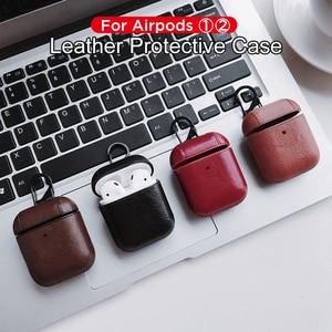 Image 4 - Sac de luxe pour Apple AirPods Bluetooth sans fil écouteur housse en cuir pour Air Pods 1 2 Funda couverture boîtier de charge
