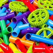 DIY сборка туннель из труб блоки игрушки водопровод строительные блоки+ Автомобильные колеса Строительная модель игрушки для детей подарок