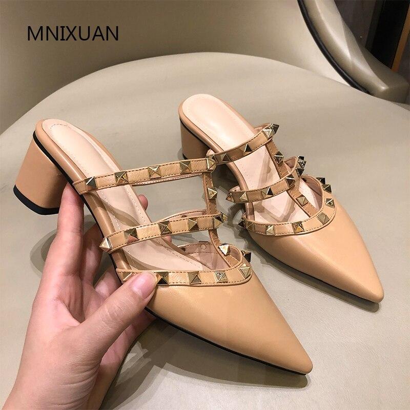 Mnixuan 2019new 핸드 메이드 우아한 여름 여성 신발 슬리퍼 샌들 덮여 지적 발가락 정품 가죽 슬립 하이힐 슬라이드-에서하이힐부터 신발 의  그룹 1