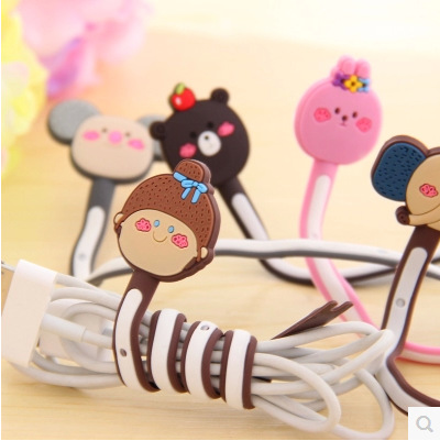 100pcs/lot Wholesale Cute Animals Cable Winder Clip Earphone Winder Earbud Silicone Cable Cord Holder for Samsung Headphone