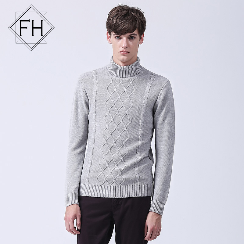 Fuhao New 2016 Mens Sweater Grey Argyle Pattern Sweater ...