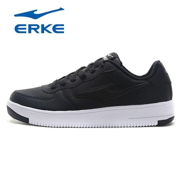Ерке классические черные и белые мужские кроссовки 9908 Кружево-кожа Для мужчин Обувь для скейтбординга Молодежная Спортивная обувь на платформе Низкие туфли Для мужчин 2018
