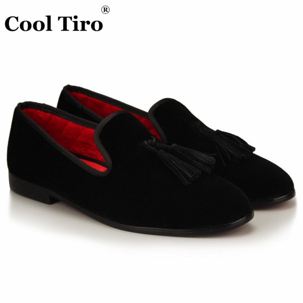 COOL TIRO Black velvet shoes with tassel dress Wedding Party Banquet men Red bottom smoking Slippers Loafers Slip-on shoes round neck cotton linen splash ink print short sleeve men s t shirt