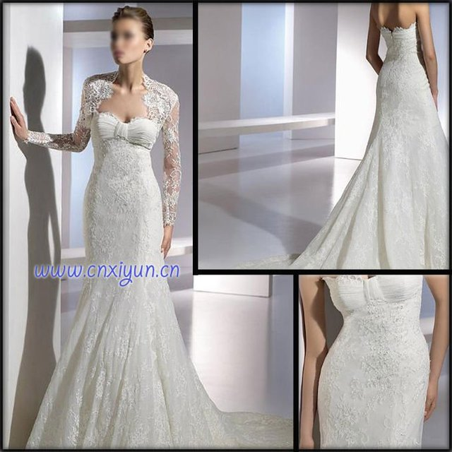 Classic Design Wedding Dresses With Lace Bolero one piece appliqued ...