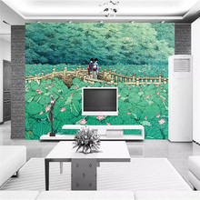 Custom wallpaper Japanese style lotus bridge on the beautiful mural decorative painting waterproof material