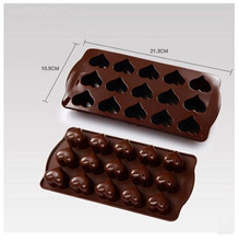 Hot Selling Creative Kitchen Baking Tools Silicone 15 Heart Patterns Chocolate Mold DIY Bread Cookie Jelly Moulds