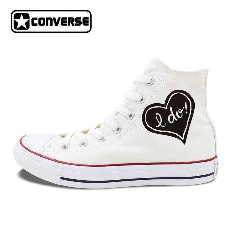 Original Design LOVE Proposal Marriage Converse Chuck Taylor Canvas Sneakers Man Woman's White Skateboarding Shoes Wedding Shoes