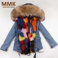 2018 New Women Winter Fur Parka Army Green Jacket Coats Thick Large Real Raccoon Fur Collar Fox Fur Liner Outwear Brand Style