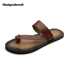 New Men REAL Leather T-Strap Tongs Flip-Flops Shoes Beach Sandal Casual Slipper Sumemer Outdoor Slides