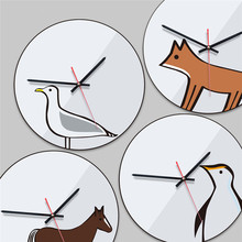 Modern minimalist Nordic vintage wall clock Living room home decoration creative acrylic animal hangings