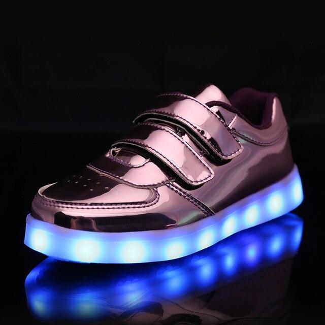7 Couleur enfant USB Charge LED Chaussure Lumineuse Baskets Crochet et Boucle bWqSM
