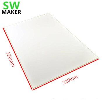 SWMAKER 320x220x3 мм 215x315 мм поверхность печати боросиликатного стекла для RepRap 3D принтера обновление пользовательского стекла