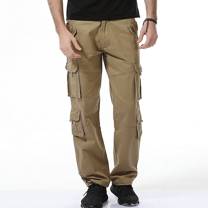 cargo pants men 2017 mens military Multi Pockets Combat Casual Cotton Loose Long Straight Trousers army tactical pants size 40