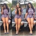2016 Estilo Verão Mulheres Two Piece Outfits Top de Culturas E Calções Set Floral Impressão Macacão Sexy Macacão Feminino Macacão Senhoras