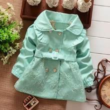 Nouveau printemps automne filles Double boutonnage Cardigan infantile bébé enfants dentelle manteau enfants manteaux manteaux ceinture tranchée S1309