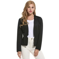 FANALA Cotton Long Sleeve Slim Short Blazer Women Blazers And Jackets Without Neck Elegant White Collar