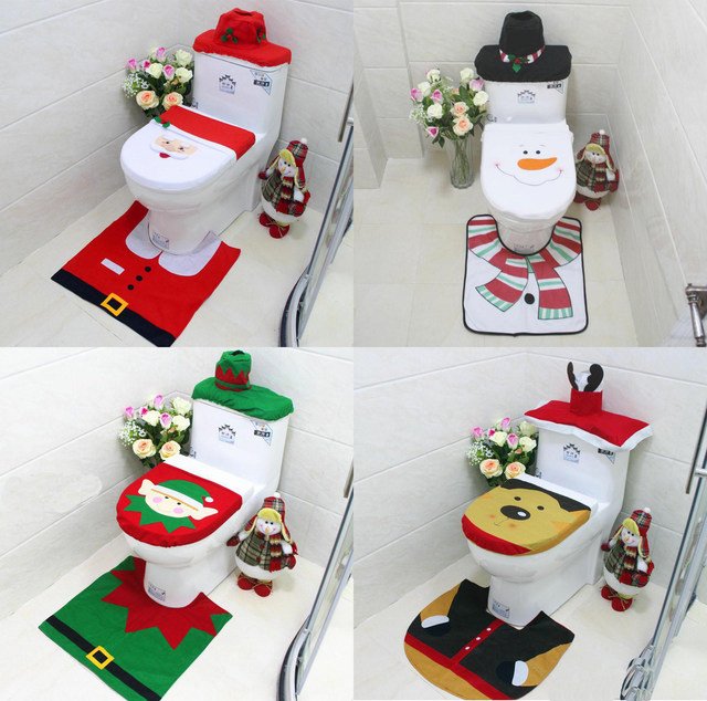 4 style christmas toilet seat cover christmas decorations santa snowman reindeer rug bathroom set