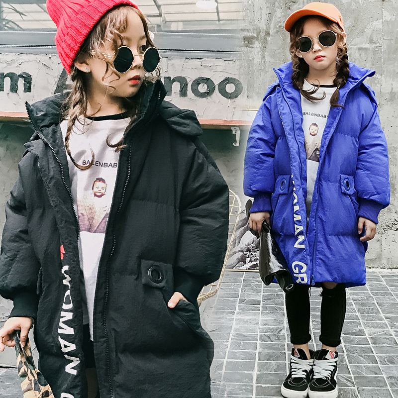 Child down jacket coat boy kids Loose long outerwear winter tide children clothing for 5 6 7 8 9 10 11 12 13 14 years girl