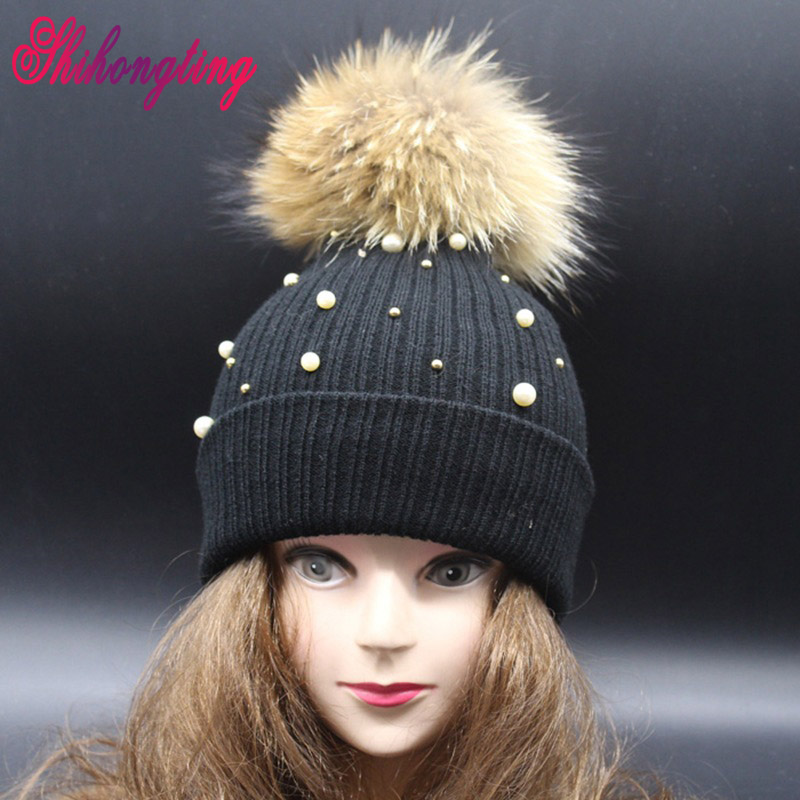 81d0504ba04 Pearl Fur Bulb Hats Acrylic Knitted Caps Natural Raccoon Fur Pom Pom  Detachable Cute Warm Cap For Women Birthday Gift ZZM003-in Skullies    Beanies from ...
