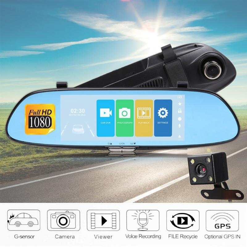 7inch Car DVR Camera Dual Lens Car DVR Rear View Camera Mirror Touch Screen Dash Cam Night Vision DashCam Car Recorder Registrar 1080p car dash camera dvr with dual lens 4 screen