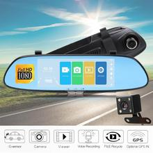 7inch Car DVR Camera Dual Lens Car DVR Rear View Camera Mirror Touch Screen Dash Cam Night Vision DashCam Car Recorder Registrar