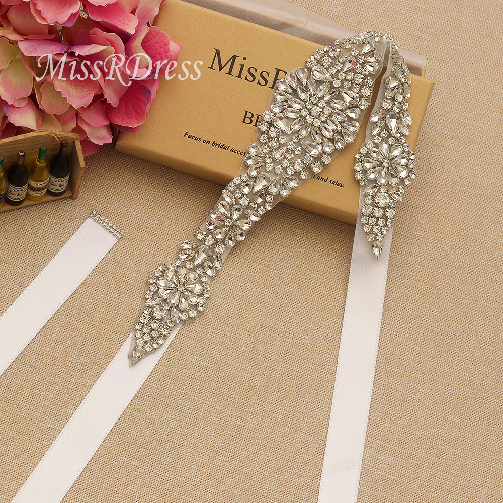 Bridal Dress Belt MissRDress Long Wedding Sash Rhinestones Ribbons - Үйлену керек-жарақтары - фото 2